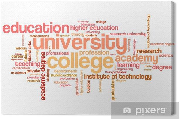 Leinwandbild Hochschulbildung - Wortwolke - Zeichen und Symbole