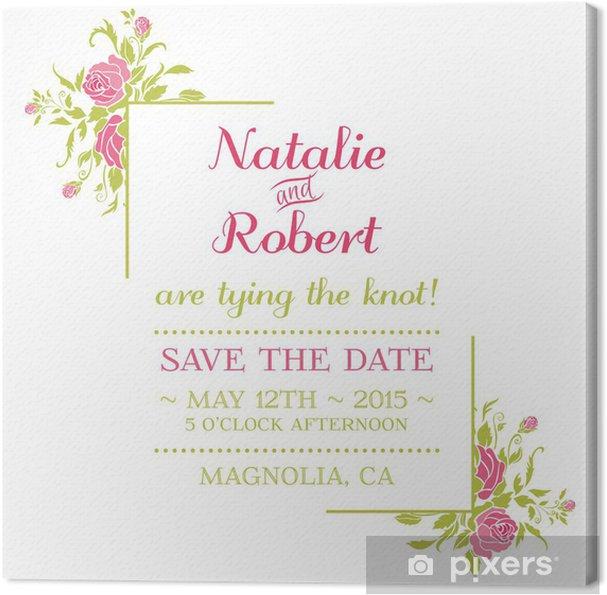 Leinwandbild Hochzeits Einladungs Karte Blumen Thema In Vektor