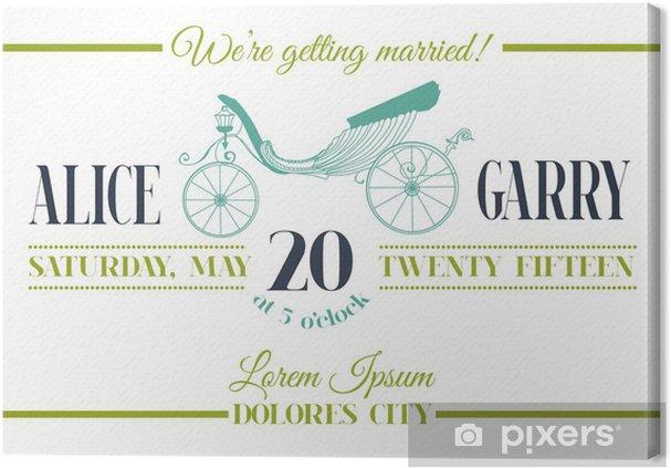 Leinwandbild Hochzeits Einladungs Karte Kutsche Thema In Vektor