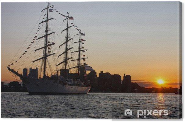 Leinwandbild Hohes Schiff während Segel Boston 2009 im Hafen von Boston - Boote