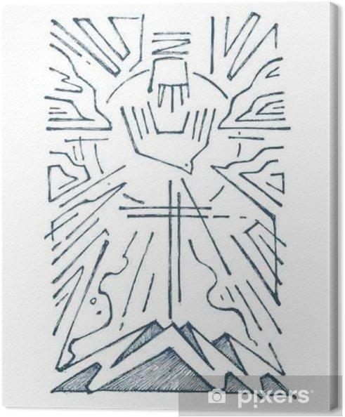 Leinwandbild Holy Trinity Hand gezeichnete Illustration - Religion und Kultur