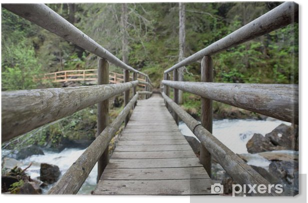 Leinwandbild Holzbrücke im Wald - Straßenverkehr