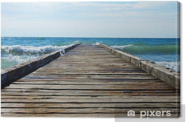 Leinwandbild Holzsteg führt in das blaue Meer - Themen