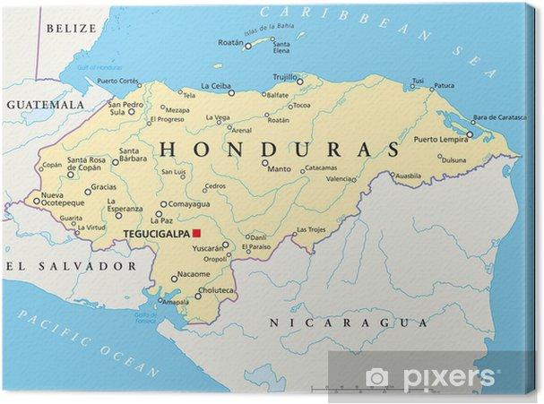 honduras karte Leinwandbild Honduras Karte (Honduras Landkarte) • Pixers®   Wir