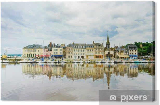 Leinwandbild Honfleur Hafen und Skyline mit Reflexion. Normandie, Frankreich - Europa
