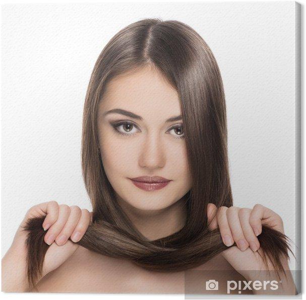 Leinwandbild Hübsche Brünette Mit Glänzend Glattes Haar Haare