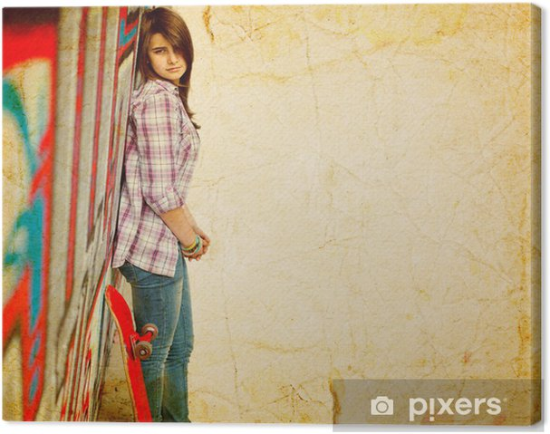 1b42f93e182ced Leinwandbild Hübsches Mädchen mit Skateboard Skater • Pixers® - Wir ...