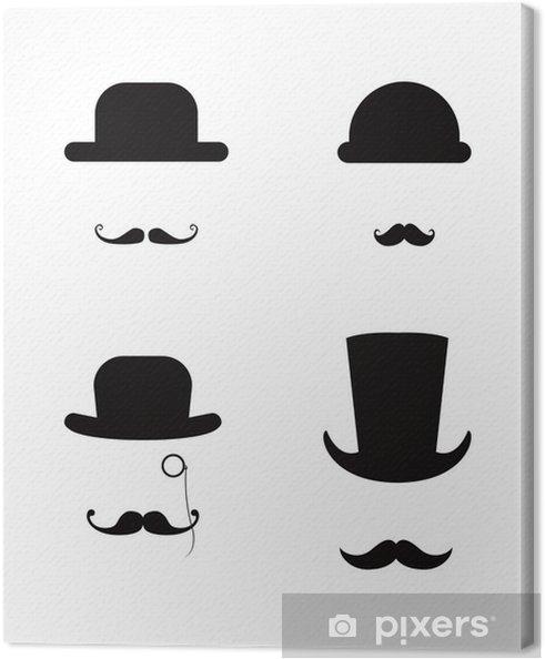 Leinwandbild Hut und Schnurrbart-Icon-Set - Zeichen und Symbole