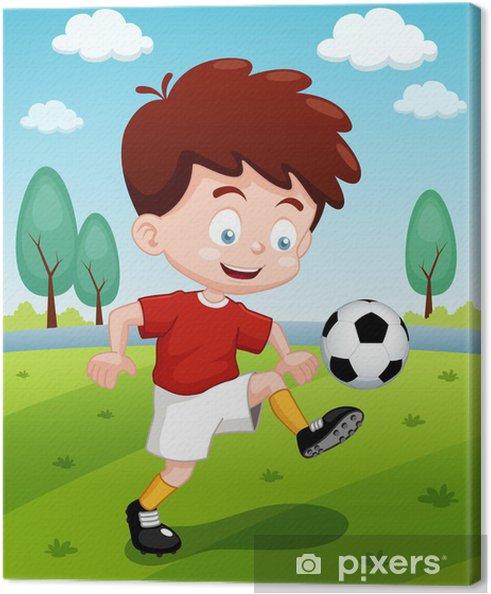Leinwandbild Illustration Der Comic Junge Der Fussball