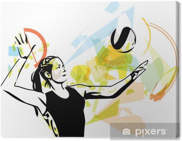 Leinwandbild Illustration der Volleyball-Spieler spielen - Volleyball