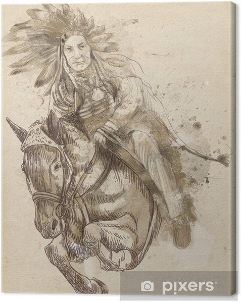 Leinwandbild Indian Chief Reiten und über eine Hürde springen - Sonstige Gefühle