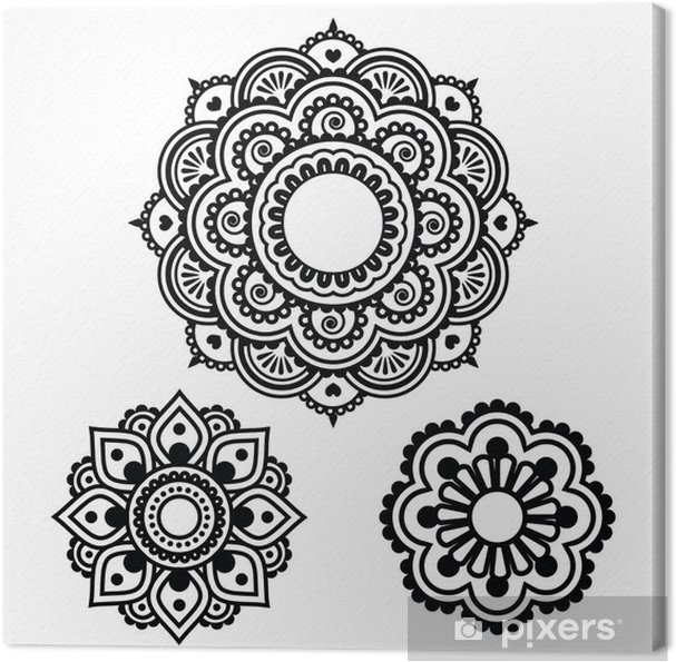 Henna Tattoo Farbe Kaufen Hannover: Leinwandbild Indian Henna Tattoo Rundes Design