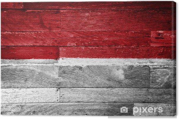 Leinwandbild Indonesien Flagge Auf Alten Holz Gemalt Pixers