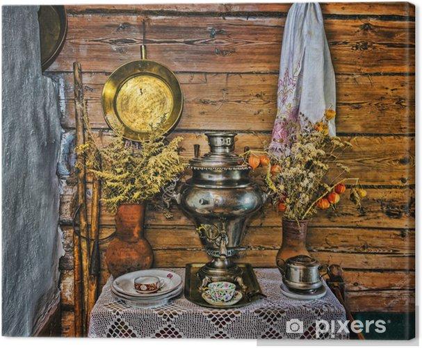 Leinwandbild Innenraum der russischen Log-Hütte mit Elementen der alten Weise des li - Haus und Garten