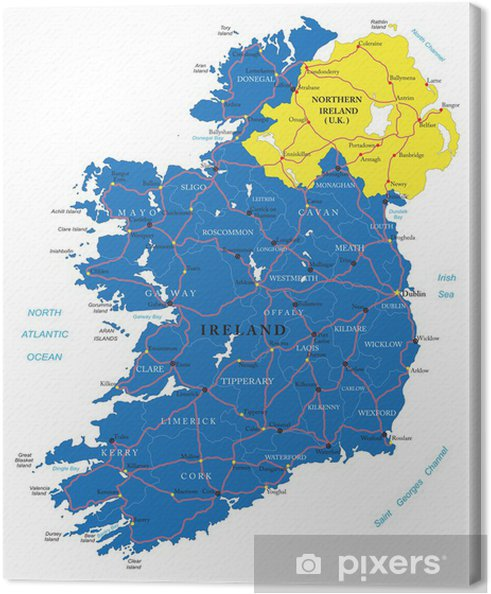 Irland Karte.Leinwandbild Irland Karte