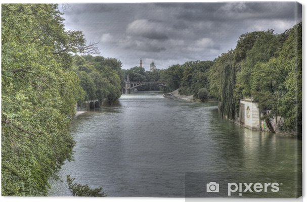 Isar Fluss Karte.Leinwandbild Isar Fluss Durch München