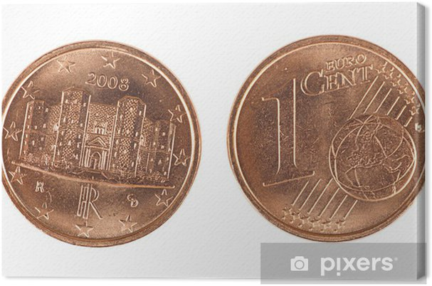 Leinwandbild Italian Ein Euro Cent Münze Vorder Und Rückseite