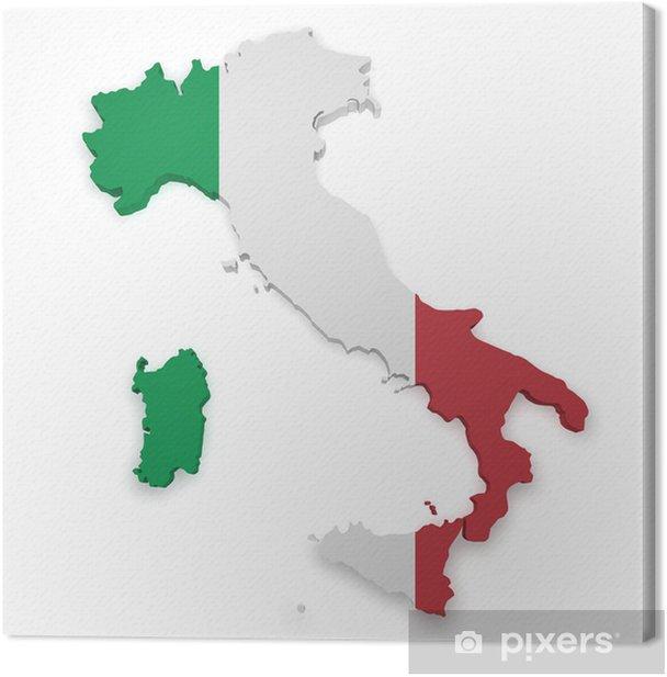 Leinwandbild Italien Karte 3d Form - Europa