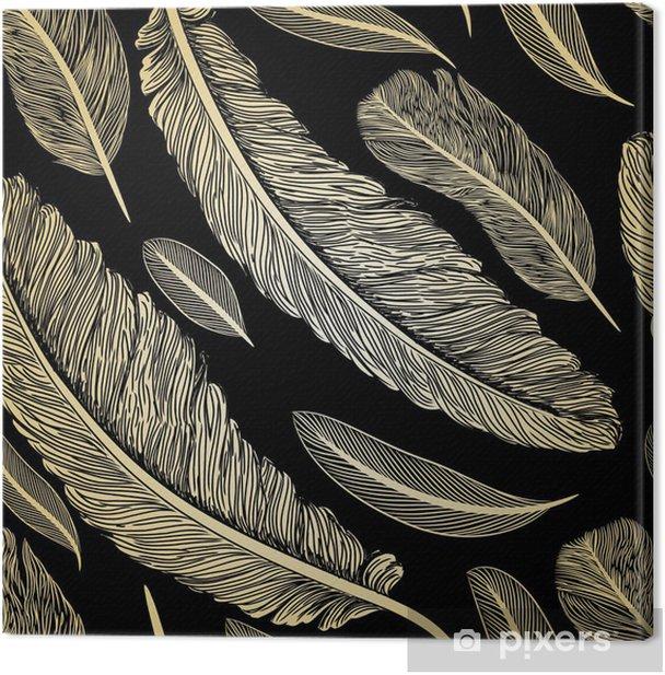 Leinwandbild Jahrgang nahtlose Muster mit Hand gezeichneten Federn - Sonstige Gefühle