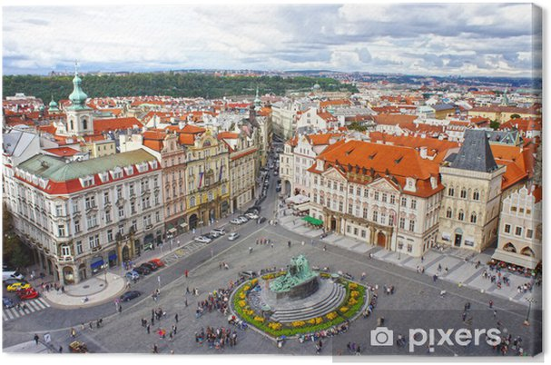 Leinwandbild Jan-Hus-Denkmal auf dem Altstädter Ring, Prag - Europäische Städte
