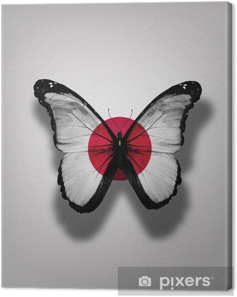 Leinwandbild Japan Flagge Schmetterling, isoliert auf Flaggenhintergrund - Nationale Ereignisse