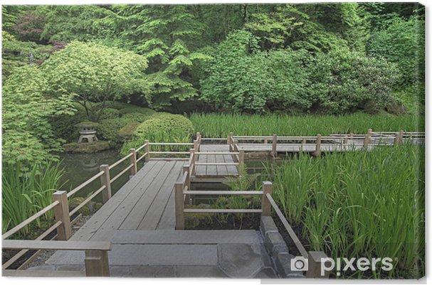 Leinwandbild Japanische Garten Brücke über Teich Pixers Wir