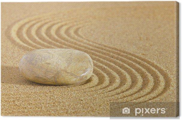 Leinwandbild Japanischen Zen-Garten mit Stein in Sand geharkt - Texturen