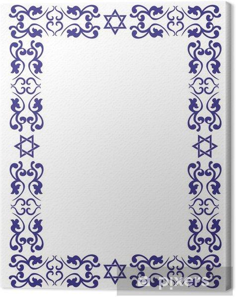 Leinwandbild Jüdischen floral Grenze mit David Stern auf weißem Hintergrund - Religion