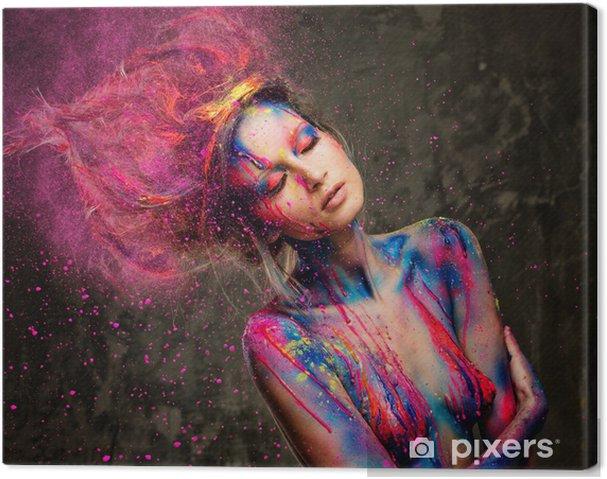Leinwandbild Junge Frau mit kreativen Muse Körper Kunst und Frisur - Bereich