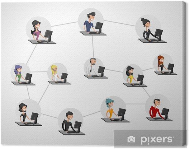 Leinwandbild Junge Menschen mit Computer verbunden. Soziales Netzwerk. - Internet und Netzwerke