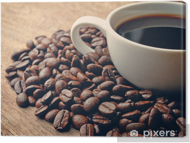 Leinwandbild Kaffee auf Grunge hölzerne Hintergrund - Themen