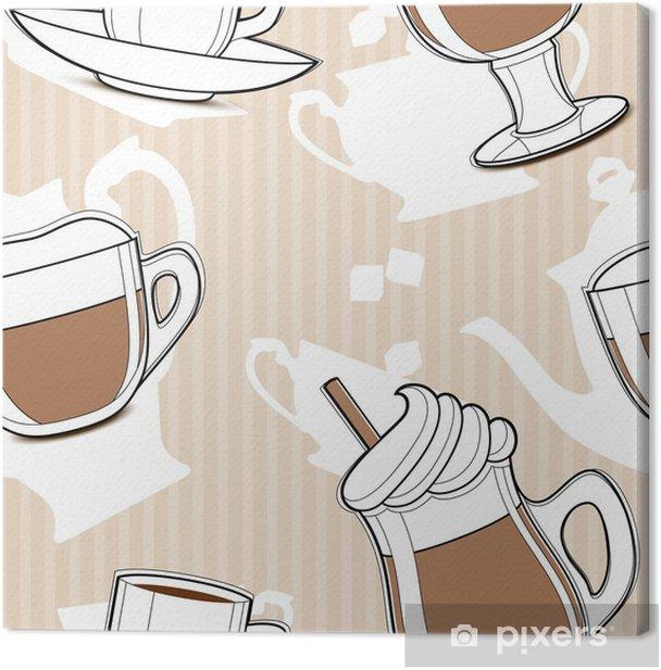 Leinwandbild Kaffee, nahtlose Muster - Heißgetränke