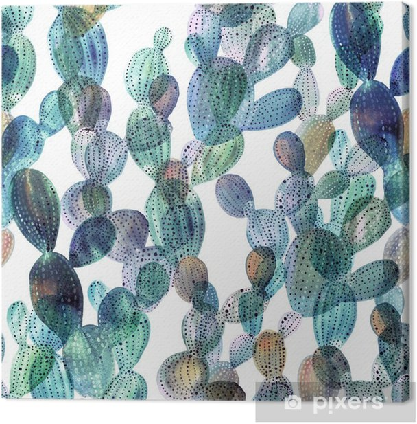 Leinwandbild Kaktus Muster in Aquarell-Stil - Pflanzen und Blumen