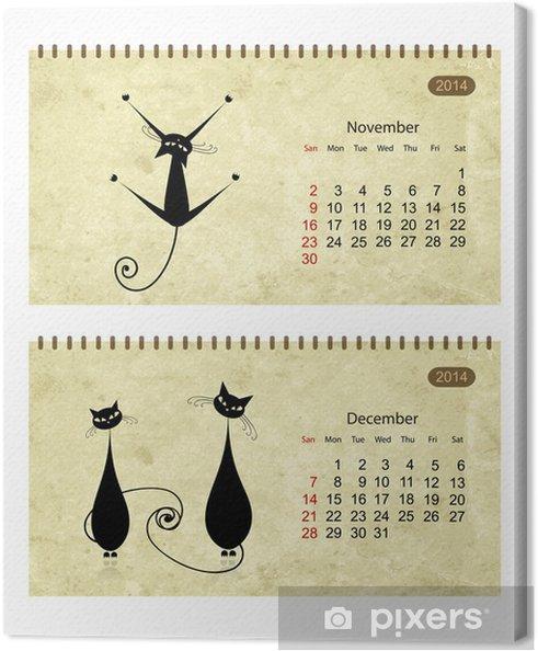 Leinwandbild Kalender 2014 mit schwarzen Katzen auf Grunge Papier - Säugetiere