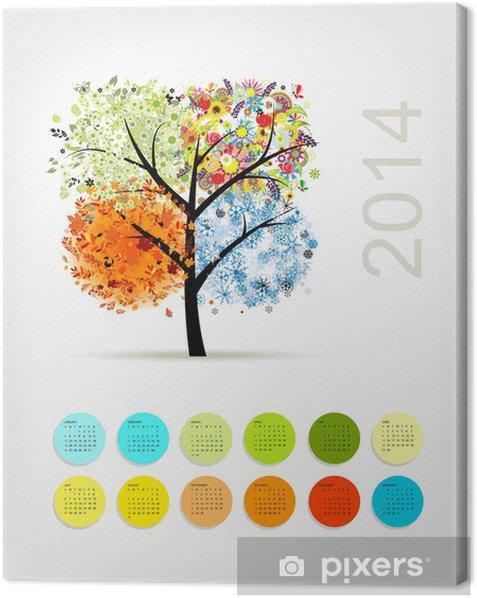 Leinwandbild Kalender 2014 mit vier Saison Baum für Ihr Design - Jahreszeiten