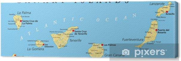 Kanaren Inseln Karte.Leinwandbild Kanarische Inseln Politische Karte
