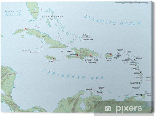Karibik Karte.Leinwandbild Karibik Große Und Kleine Antillen Politische Karte
