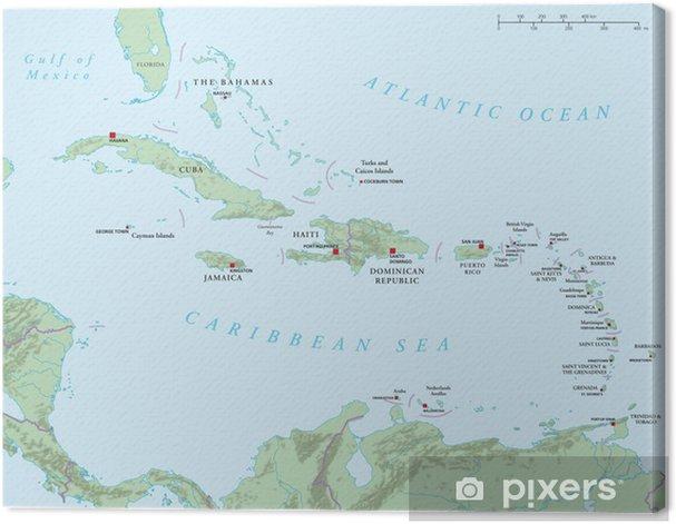 Leinwandbild Karibik Grosse Und Kleine Antillen Politische