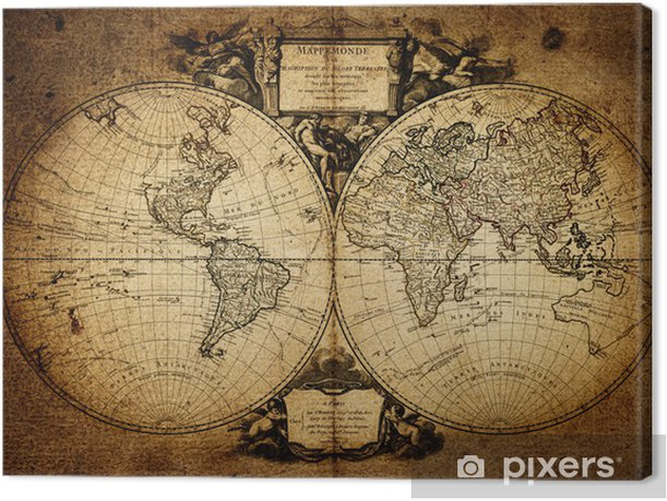 Leinwandbild Karte der Welt 1752 - Themen