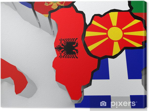 Mazedonien Karte.Leinwandbild Karte Von Albanien Und Mazedonien