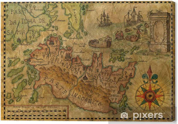 Fantasy Karte.Leinwandbild Karte Von Der Fantasy Welt 3