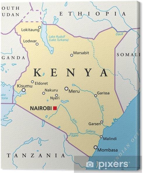 Kenia Karte.Leinwandbild Kenia Karte Kenia Landkarte