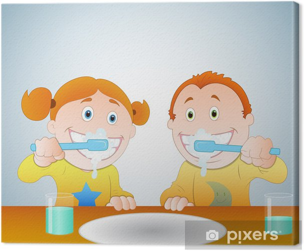 Leinwandbild Kids Zähne putzen - Gesundheit & Medizin