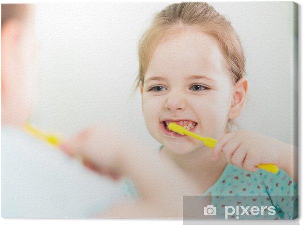 Leinwandbild Kind Mädchen Zähneputzen im Badezimmer • Pixers® - Wir ...