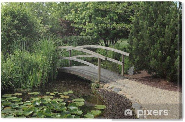 Leinwandbild Kleine Hölzerne Brücke über Wasser Garten Pixers