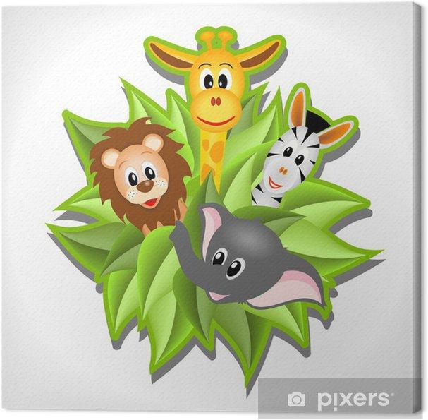 Leinwandbild Kleine Karikatur Elefanten, Giraffen, Löwen und Zebras - Säugetiere