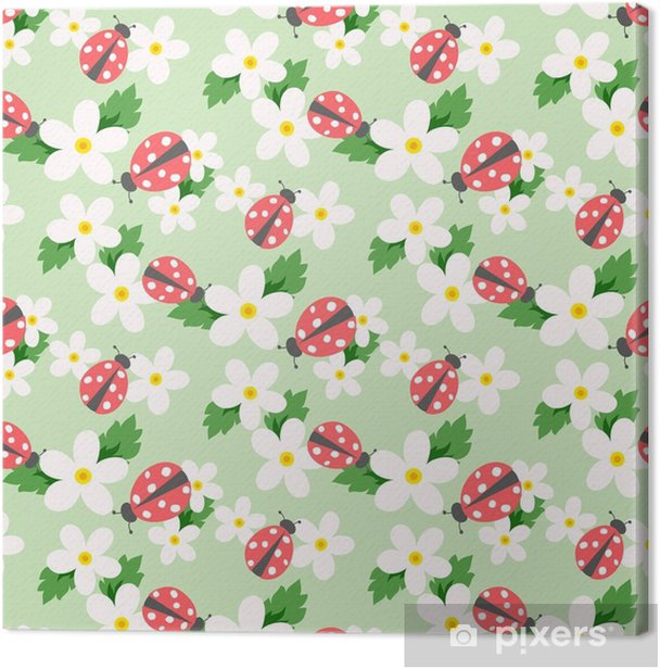 Leinwandbild Kleiner Blumenvektor mit Marienkäfer. niedliches weißes nahtloses mit Blumenmuster. Blumen Hintergrund. - Grafische Elemente