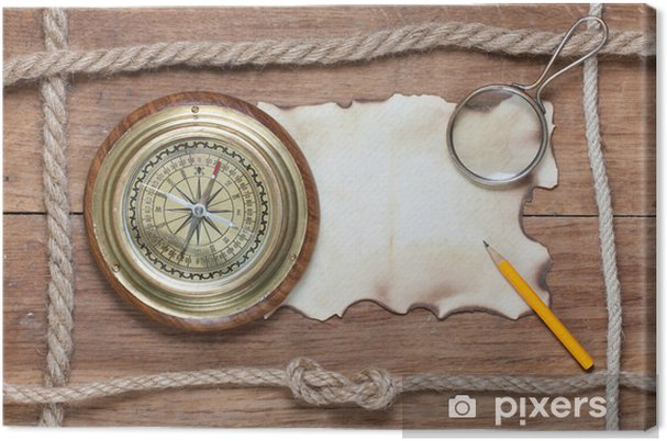 Leinwandbild Kompass, verbranntem Papier, Bleistift, Lupe und Seil auf Holz - Hintergründe