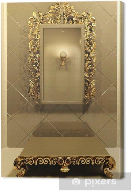 Leinwandbild Königliche Spiegel Mit Goldrahmen In Luxury Interior