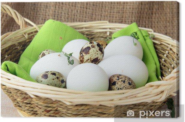 Leinwandbild Korb mit Eiern auf einem Holztisch - Eier